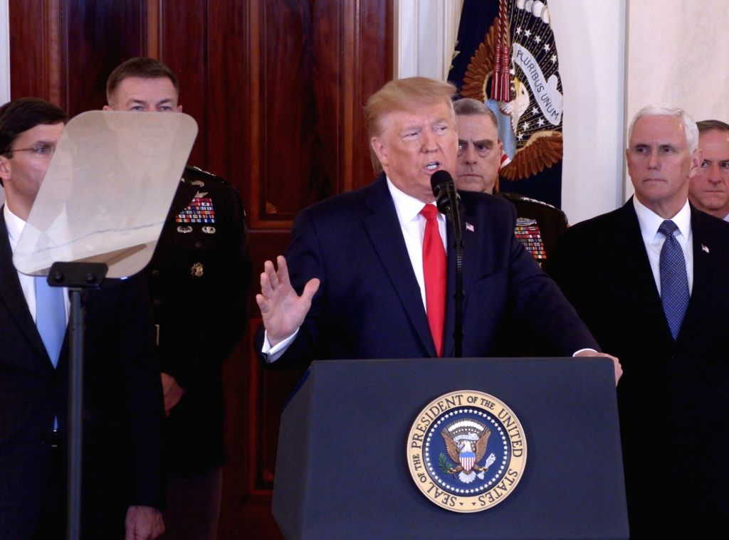 U.S. President Donald Trump (C) delivers a statement at the White House in Washington D.C., the United States, Jan. 8, 2020. Donald Trump said on Wednesday that ...
