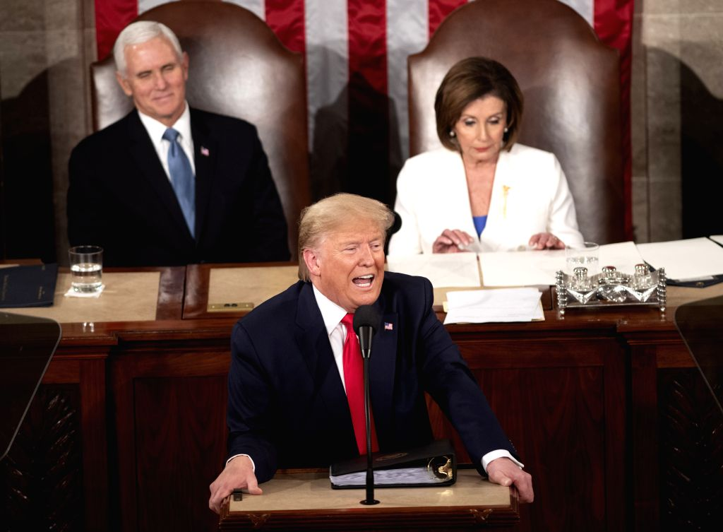 U.S. President Donald Trump delivers his State of the Union address to a joint session of Congress on Capitol Hill in Washington D.C., the United States, Feb. 4, ...