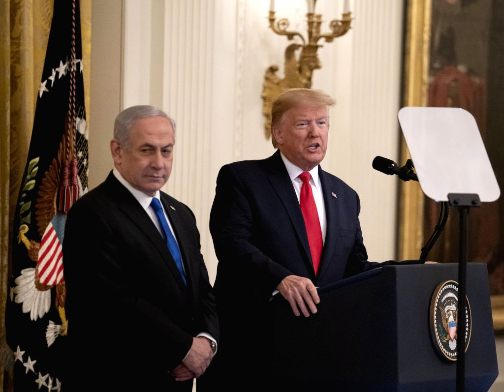 U.S. President Donald Trump (R) and Israeli Prime Minister Benjamin Netanyahu attend a joint press conference in the White House in Washington D.C., the United ... - Benjamin Netanyahu