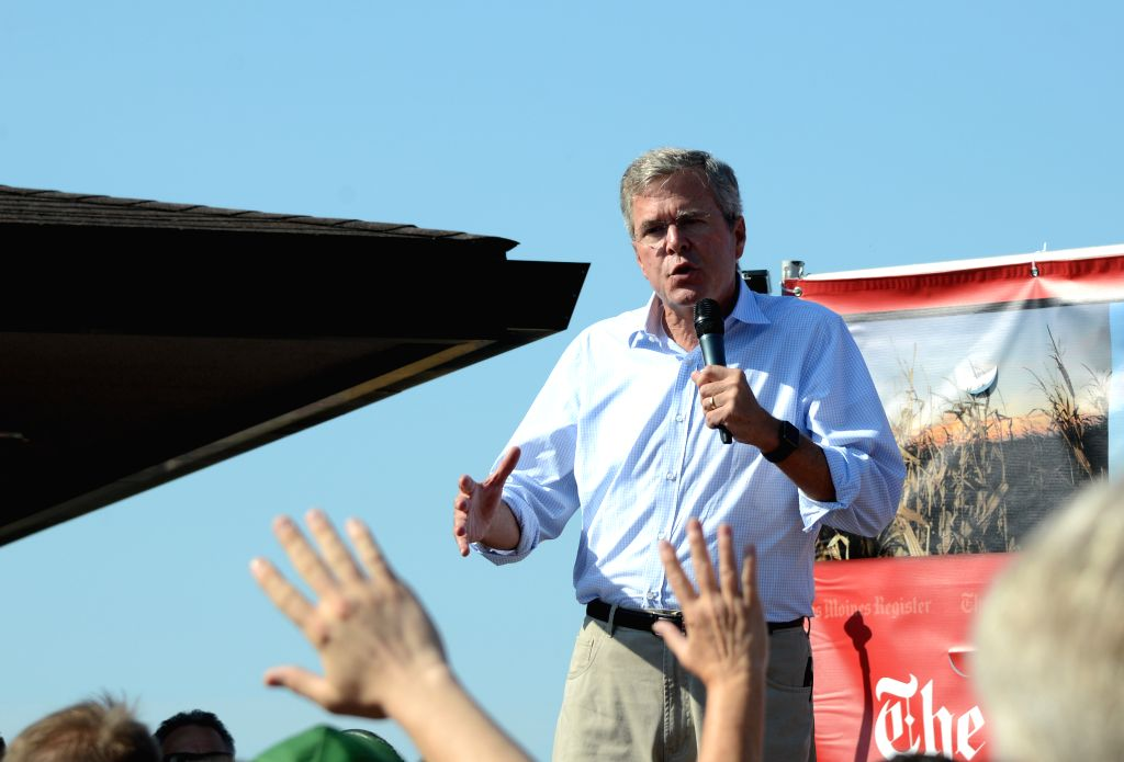 U.S. Republican presidential candidate Jeb Bush speaks to supporters at the Iowa State Fair in Des Moines, the United States, Aug. 14, 2015. U.S. Republican ...