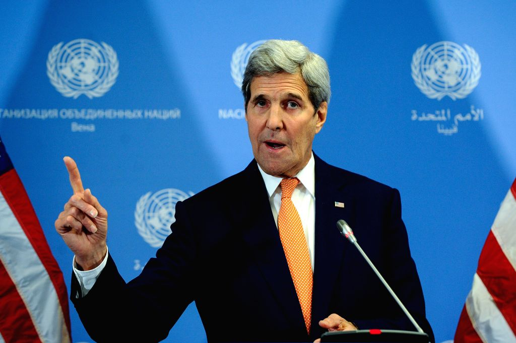 U.S. Secretary of State John Kerry speaks at a press conference in Vienna, Austria, on Jan. 16, 2016. U.S. Secretary of State John Kerry told reporters on Saturday ...