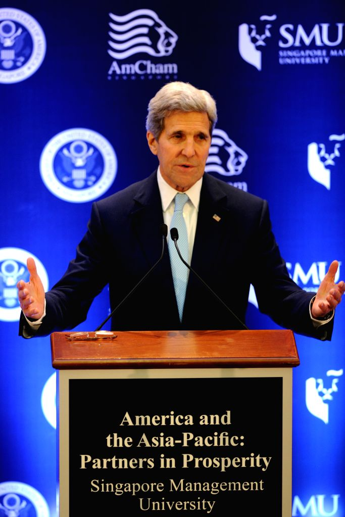 "U.S. Secretary of State John Kerry speaks on the topic of ""America and the Asia-Pacific: Partners in Prosperity"" at the Singapore Management University ..."