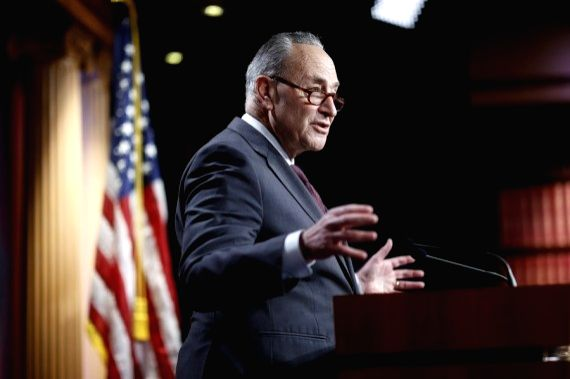 U.S. Senate Majority er Chuck Schumer speaks during a press conference on Capitol Hill in Washington D.C., the United States, Feb. 2, 2021.