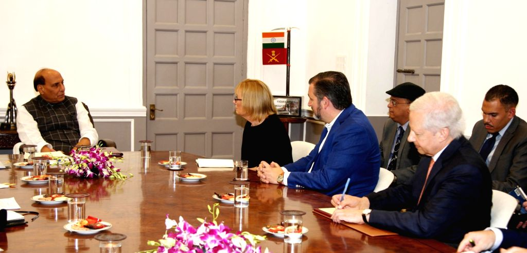 U.S. Senator Maggie Hassan and U.S. Senator Ted Cruz calls on Defence Minister Rajnath Singh, in New Delhi on Oct 11, 2019. Also seen U.S. Ambassador to India Kenneth Ian Juster. - Rajnath Singh