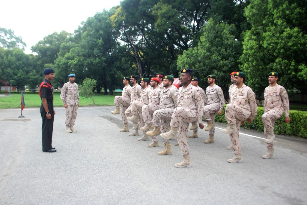 UAE soldiers undergoing Drill Practice at Indian Military Academy in Dehradun on July 18, 2019.