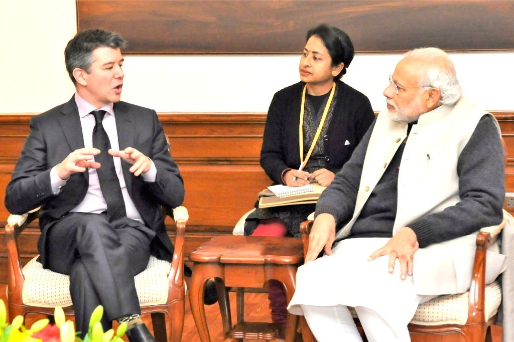 Uber Founder Travis Kalanick calls on the Prime Minister Narendra Modi, in New Delhi, on Jan 16, 2016. - Narendra Modi