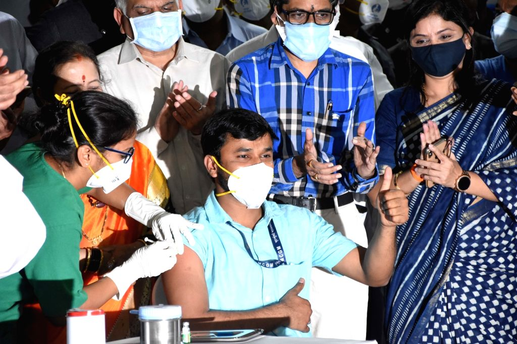 Uddhav Balasaheb Thackeray, CM,Maharashtra State during vaccination drive at Jumbo Hospital, Mumbai on January 16, 2021.