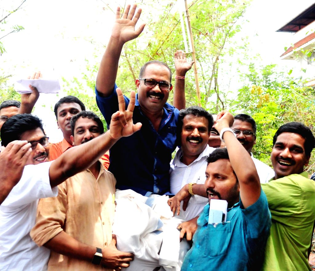 UDF candidate in Azhikode constituency KM Shaji celebrates after winning the seat in the recently concluded 2016 Kerala Assembly Polls in Kannur on May 19, 2016.