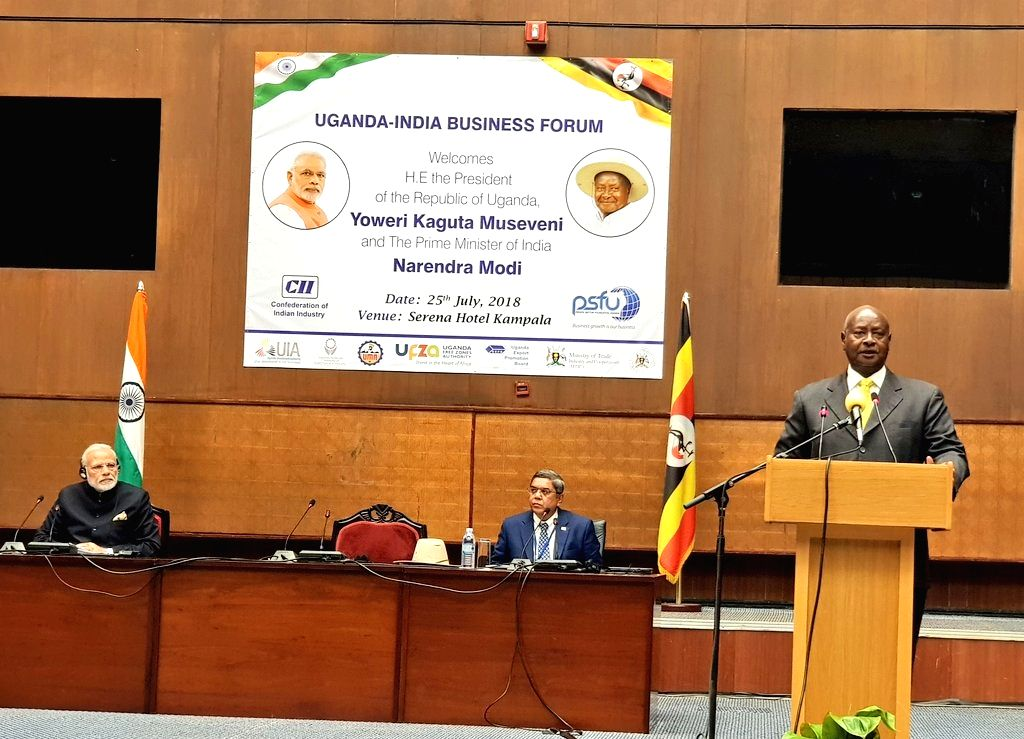 Uganda President Yoweri Kaguta Museveni addresses during India-Uganda Business Forum in Kampala, Uganda on July 25, 2018. Also seen Prime Minister Narendra Modi. - Narendra Modi