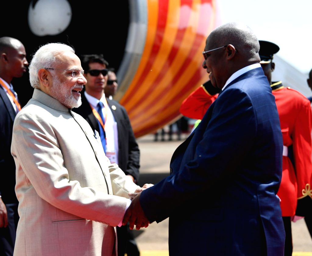 Uganda President Yoweri Museveni receives Prime Minister Narendra Modi on his arrival in Kampala, Uganda for second leg of his three-nation state visit to Rwanda, Uganda and South Africa, on ... - Narendra Modi