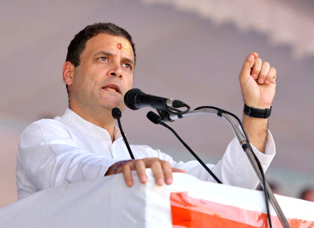 :Ujjain: Congress President Rahul Gandhi addresses at a public meeting in Madhya Pradesh's Ujjain on Oct 29, 2018. (Photo: IANS/Congress).