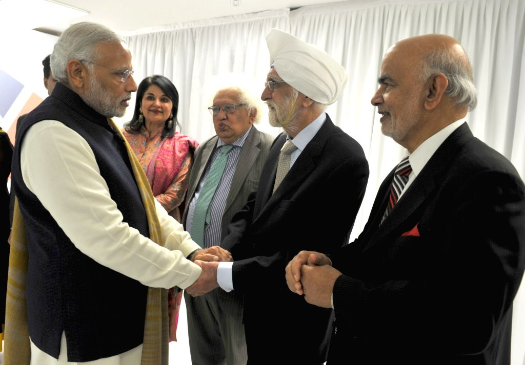UK Parliamentarians and Lords call on the Prime Minister Narendra Modi after his address, at Wembley Stadium, in London on Nov 13, 2015. - Narendra Modi