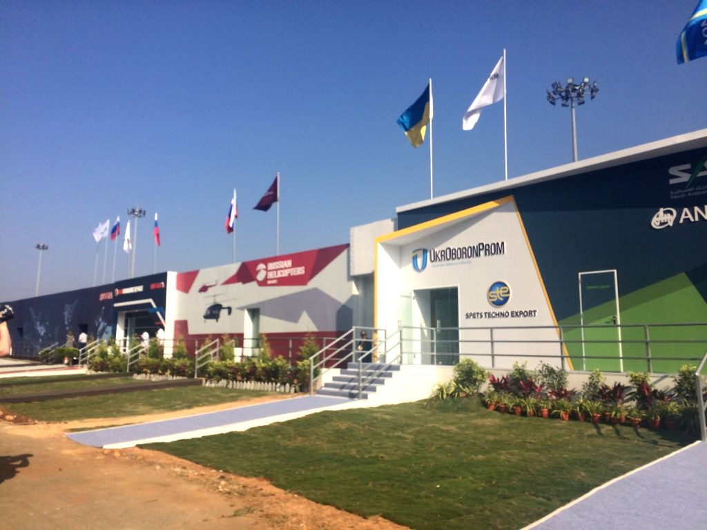Ukrain's SpetsTechnoExport pavilion at Aero India 2019 - air show that is being held at at Yelahanka Air Force Station, in Bengaluru, on Feb 20, 2019.