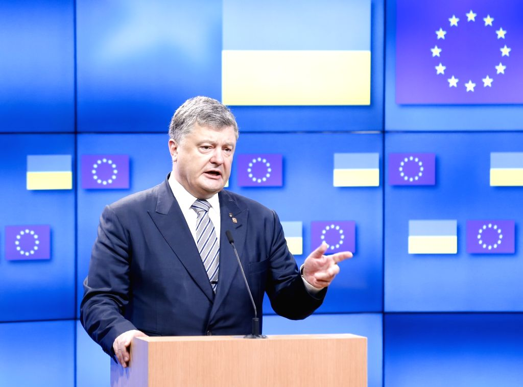 Ukrainian President Petro Poroshenko speaks during a joint statement with European Council President Donald Tusk (not in the picture) after their meeting prior to an EU Summit meeting in ...