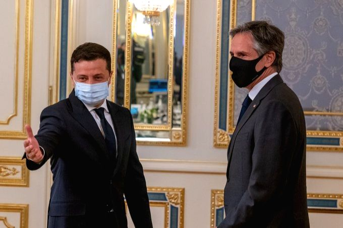 Ukrainian President Volodymyr Zelensky meets US Secretary of State Antony Blinken in Kiev.(Photo:twitter/SecBlinken)