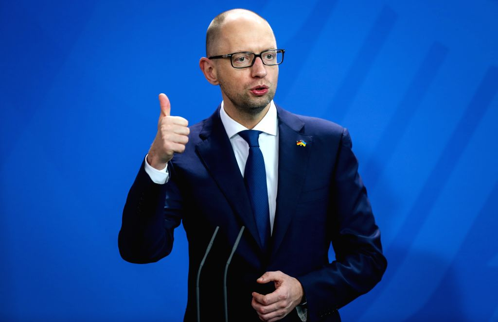 Ukrainian Prime Minister Arseniy Yatsenyuk attends the press conference after meeting with German Chancellor Angela Merkel (not in picture) at the Chancellory, ... - Arseniy Yatsenyuk