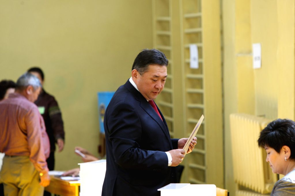 ULAANBAATAR, July 7, 2017 - Mongolian presidential candidate Miyegombyn Enkhbold of the Mongolian People's Party casts his vote at a polling station during the second round of presidential elections ...