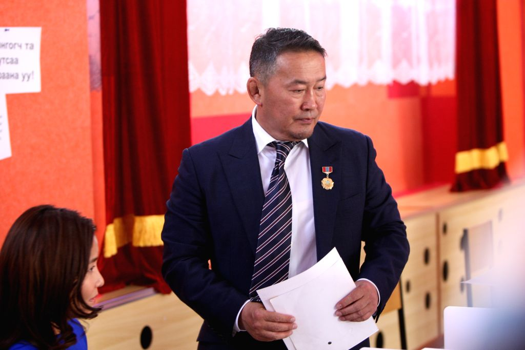 ULAANBAATAR, July 7, 2017 - Mongolian presidential candidate Khaltmaa Battulga of the Democratic Party casts his vote at a polling station during the second round of presidential elections in ...