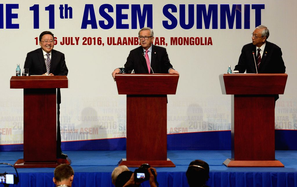 ULAN BATOR, July 16, 2016 - Mongolia's President Tsakhiagiin Elbegdorj, European Commission President Jean-Claude Juncker and Myanmar's President Htin Kyaw (from L to R) attend a press conference ...