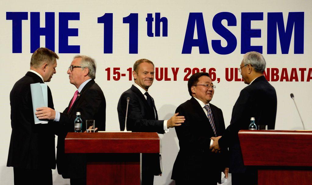 ULAN BATOR, July 16, 2016 - Slovakian Prime Minister Robert Fico, European Commission President Jean-Claude Juncker, European Council President Donald Tusk, Mongolia's President Tsakhiagiin Elbegdorj ... - Robert Fico
