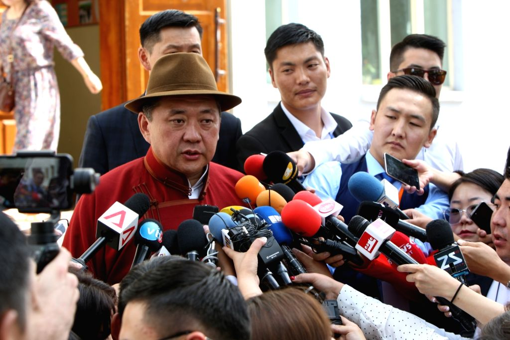 ULAN BATOR, June 26, 2017 - Presidential candidate Miyegombyn Enkhbold from Mongolian People's Party (MPP) speaks to the media at a polling station in Ulan Bator, Mongolia, June 26, 2017. Mongolians ...
