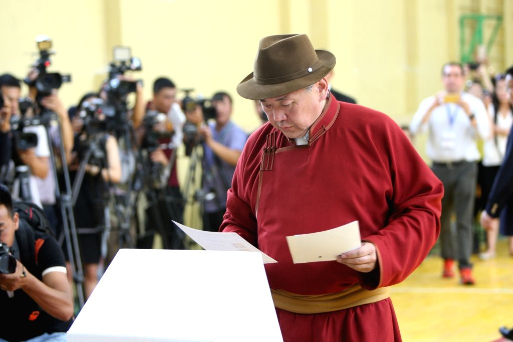 ULAN BATOR, June 26, 2017 - Presidential candidate Miyegombyn Enkhbold from Mongolian People's Party (MPP) casts his vote at a polling station in Ulan Bator, Mongolia, June 26, 2017. Mongolians went ...