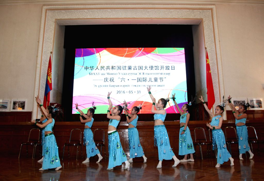 ULAN BATOR, May 31, 2016 - Local students perform a dancing during a Children's Day celebration at the Chinese Embassy in Ulan Bator, Mongolia, May 31, 2016.