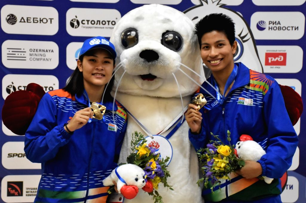 Ulan-Ude: India's Jamuna Boro and Lovlina Borgohain pose with their bronze medal during the medal ceremony at AIBA Women's World Championships 2019 in Ulan-Ude, Russia, on Oct 13, 2019.