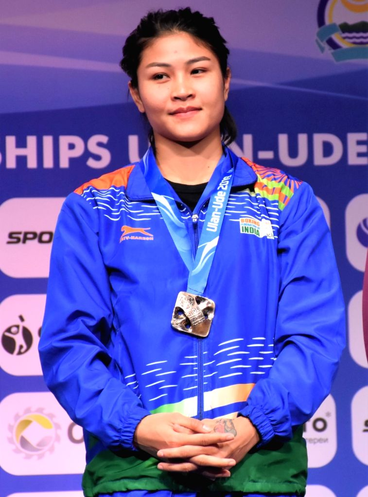 Ulan-Ude: India's Jamuna Boro poses with her bronze medal in 54kg category during the medal ceremony at AIBA Women's World Championships 2019 in Ulan-Ude, Russia, on Oct 13, 2019.