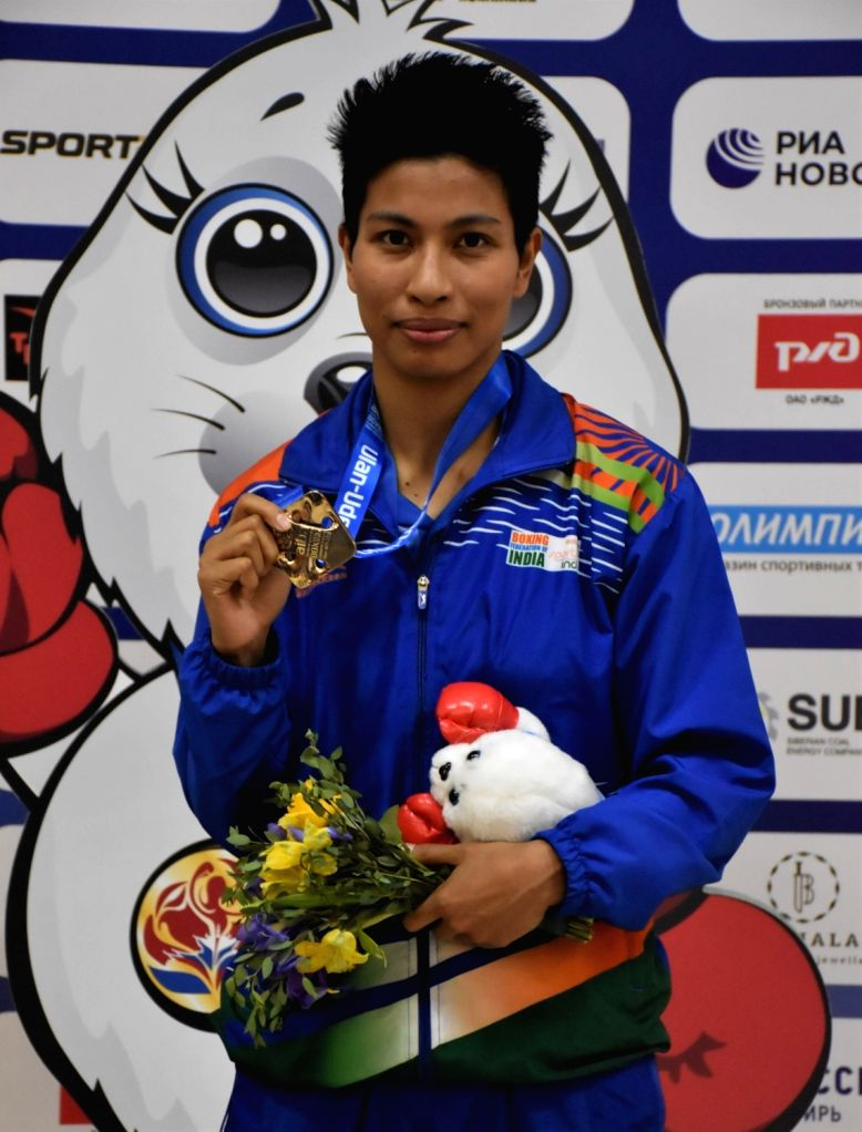 Ulan-Ude: India's Lovlina Borgohain poses with her bronze medal in 69kg category during the medal ceremony at AIBA Women's World Championships 2019 in Ulan-Ude, Russia, on Oct 13, 2019.