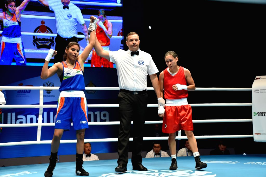 Ulan-Ude: India's Manju Rani after winning against Venezuela's Rojas Tayonis Cedeno in the 48kg category at the World Women's Boxing Championships, in Russia's Ulan-Ude on Oct 7, 2019. Manju Rani ...