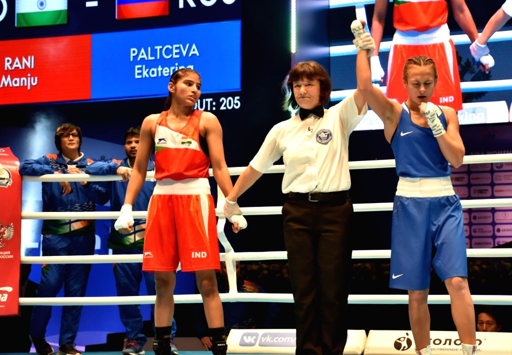Ulan-Ude: India's Manju Rani and Russia's Ekaterina Paltceva during the final match of AIBA Women's World Championships 2019 in Ulan-Ude, Russia, on Oct 13, 2019. (Photo: IANS)