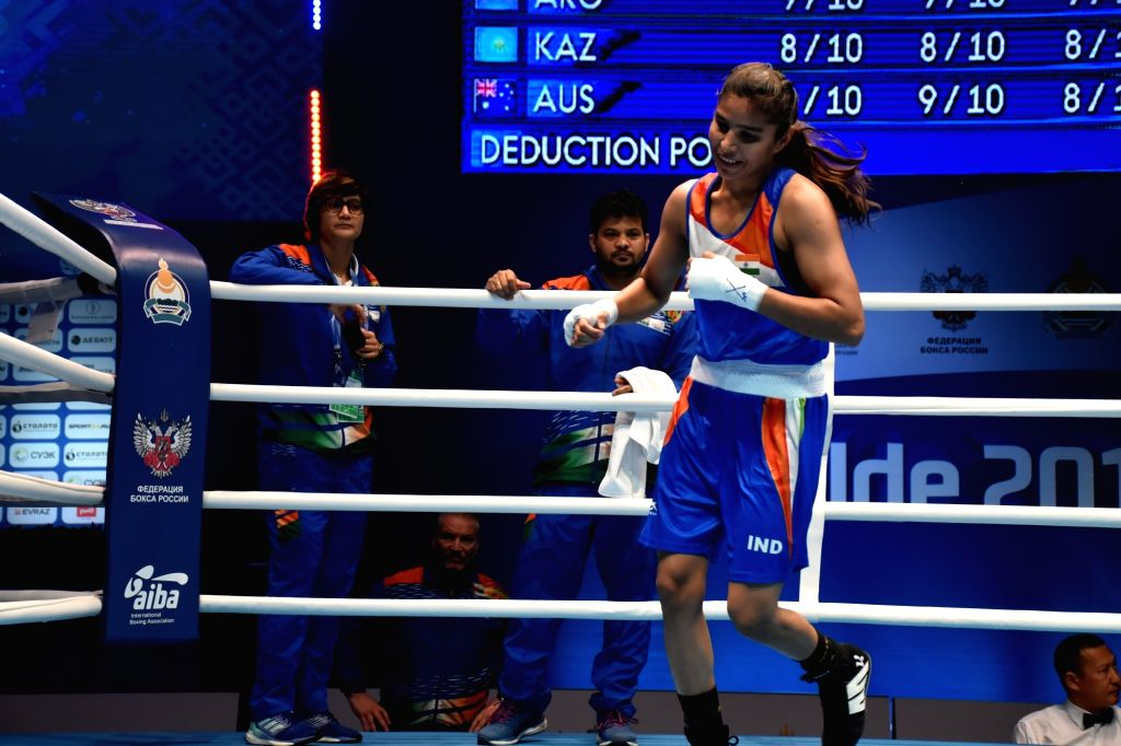 Ulan-Ude: India's Manju Rani celebrates after winning against Venezuela's Rojas Tayonis Cedeno in the 48kg category at the World Women's Boxing Championships, in Russia's Ulan-Ude on Oct 7, 2019. ...