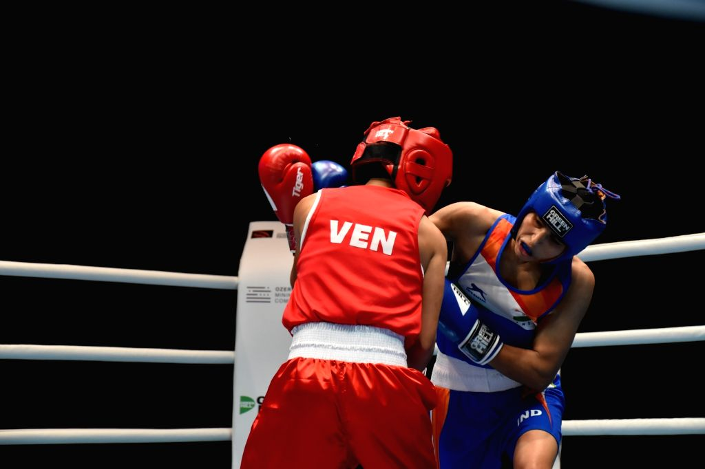 Ulan-Ude: India's Manju Rani in action against Venezuela's Rojas Tayonis Cedeno in the 48kg category at the World Women's Boxing Championships, in Russia's Ulan-Ude on Oct 7, 2019. Manju Rani ...