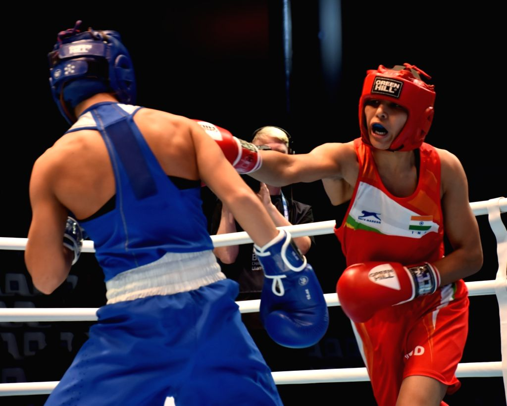 Ulan-Ude: India's Manju Rani in action against Russia's Ekaterina Paltceva in the 48kg category during the final match of AIBA Women's World Championships 2019 in Ulan-Ude, Russia, on Oct 13, 2019. (Photo: IANS)