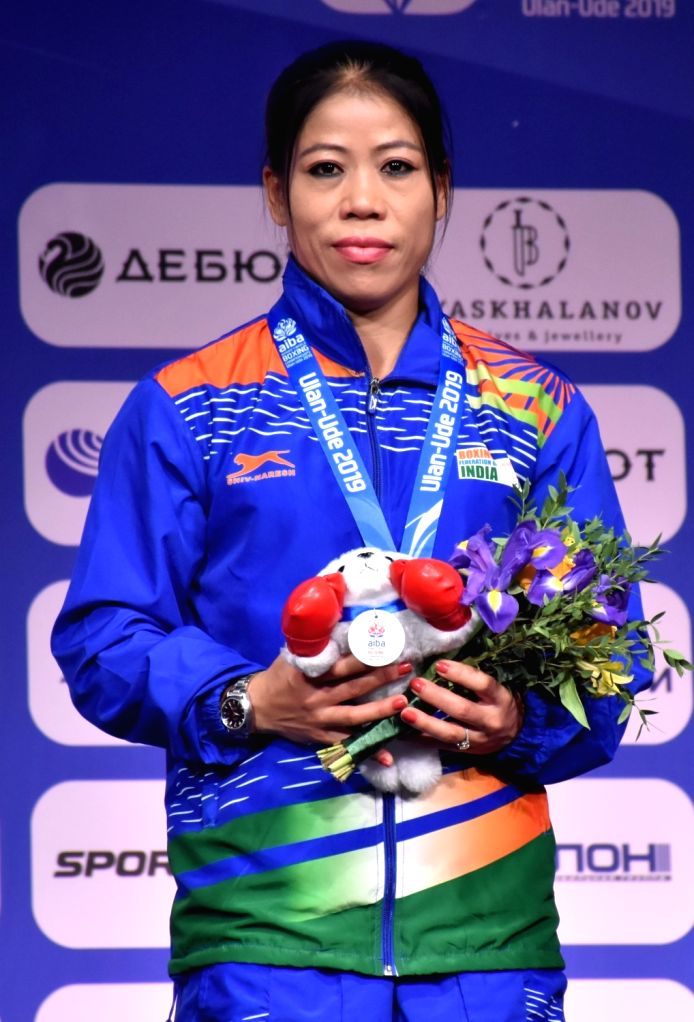 Ulan-Ude: India's MC Mary Kom poses with her bronze medal in 51kg category during the medal ceremony at AIBA Women's World Championships 2019 in Ulan-Ude, Russia, on Oct 13, 2019. - Mary Kom