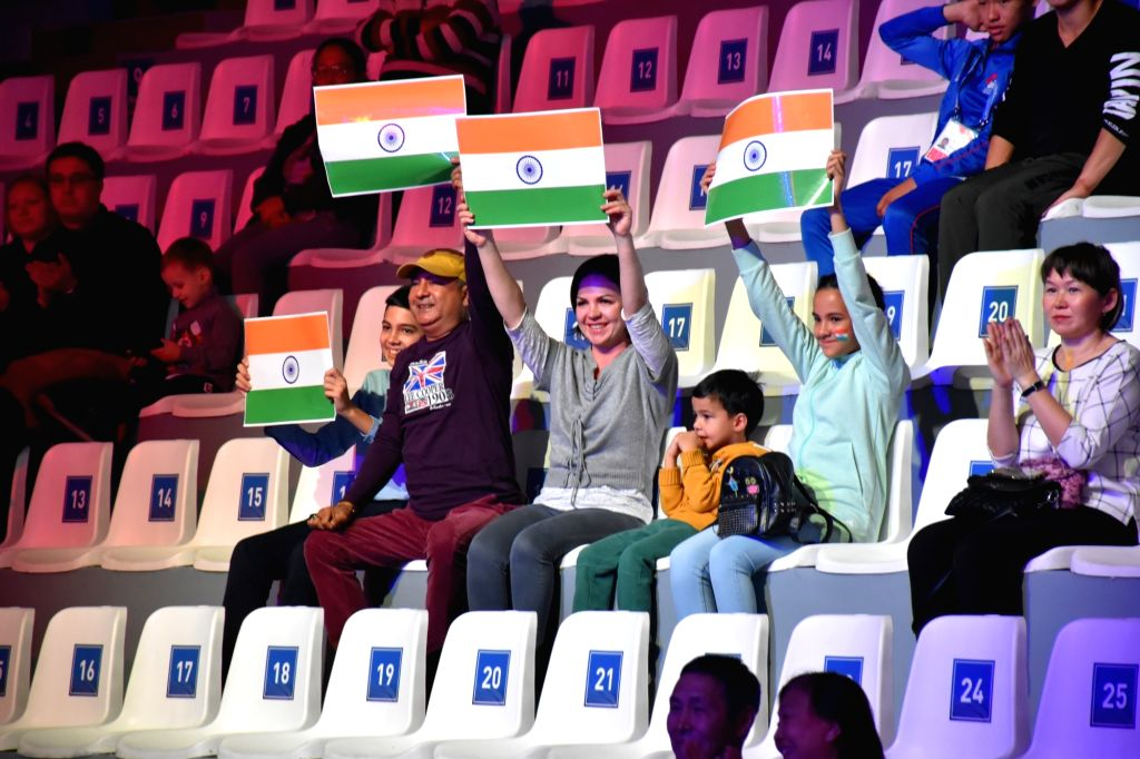 Ulan-Ude: Indian fans cheer for Manju Rani during a World Women's Boxing Championships match against Venezuela's Rojas Tayonis Cedeno in the 48kg category, in Russia's Ulan-Ude on Oct 7, 2019. Manju ...