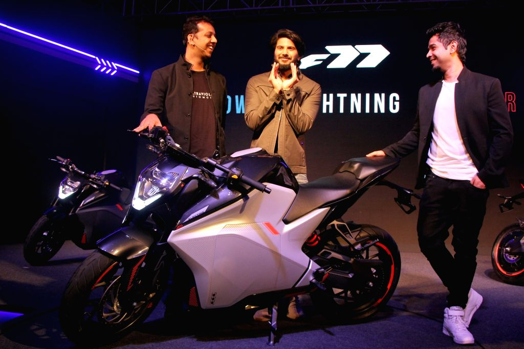 Ultraviolette Automotive Pvt. Ltd Founder and CEO Narayan Subramanian, Founder and CTO Niraj Rajmohan and actor Dulquer Salmaan at the launch of Ultraviolette Automotive F77 electric ... - Dulquer Salmaan