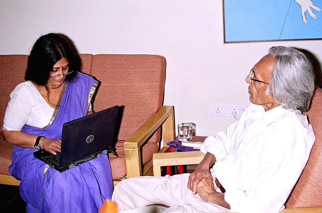 Uma Nair with Tyeb Mehta. - Tyeb Mehta