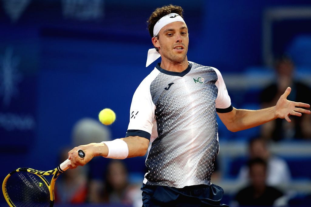 UMAG, July 16, 2019 - Italy's Marco Cecchinato returns the shot to Slovenia's Aljaz Bedene during the first round match 2019 ATP Croatia Open in Umag, Croatia, on July 15, 2019. Marco Cecchinato lost ...