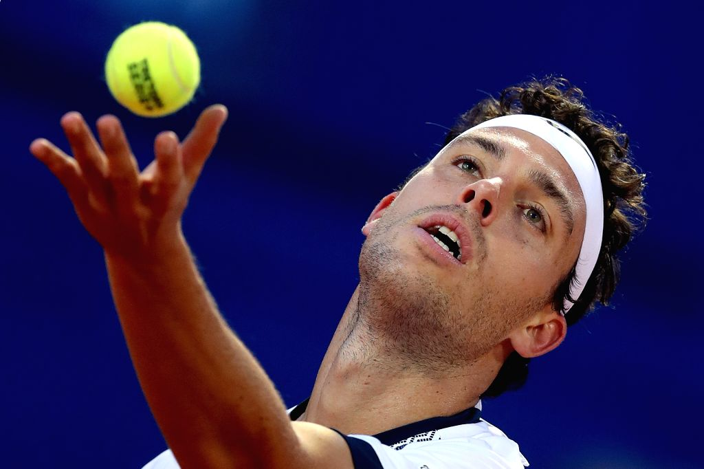 UMAG, July 16, 2019 - Italy's Marco Cecchinato serves during the first round match against Slovenia's Aljaz Bedene 2019 ATP Croatia Open in Umag, Croatia, on July 15, 2019. Marco Cecchinato lost 0-2.
