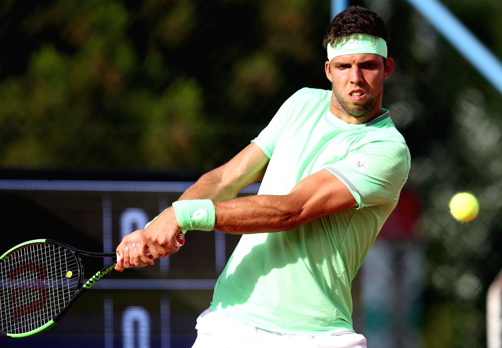 UMAG, July 16, 2019 - Jiri Vesely of the Czech Republic returns the shot to Cedrik-Marcel Stebe of Germany during the first round match at 2019 ATP Croatia Open in Umag, Croatia, on July 15, 2019. ...