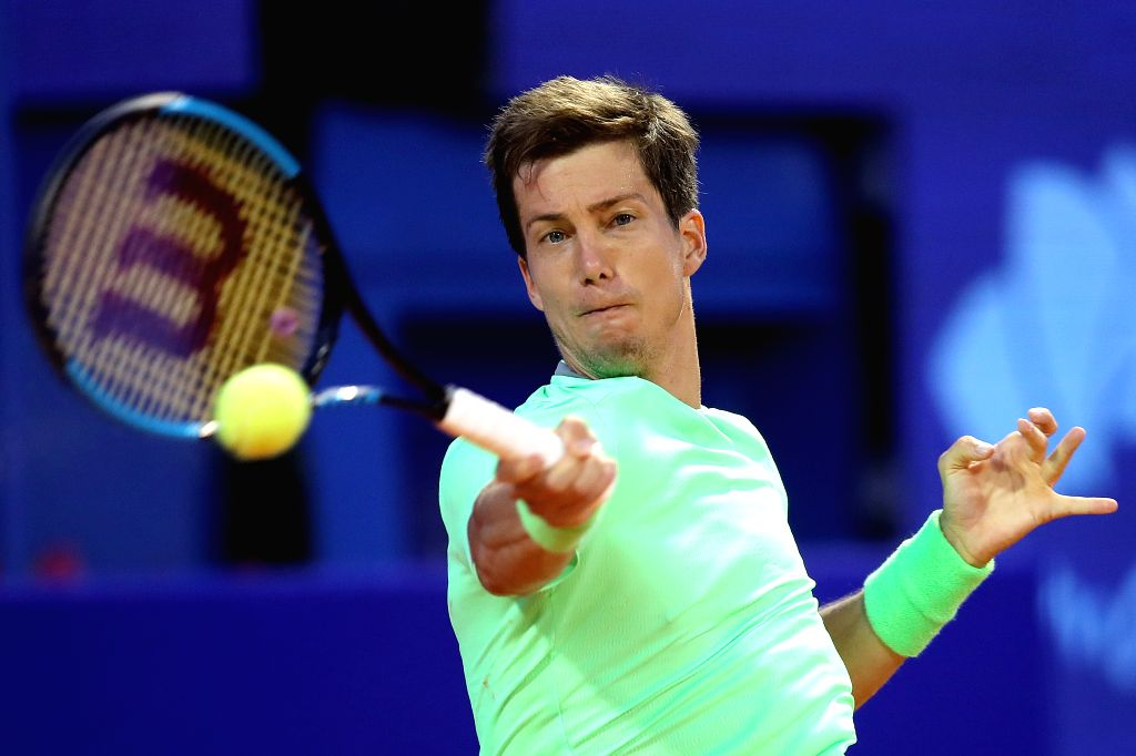 UMAG, July 16, 2019 - Slovenia's Aljaz Bedene returns the shot to Italy's Marco Cecchinato during the first round match at 2019 ATP Croatia Open in Umag, Croatia, on July 15, 2019. Bedene won 2-0.