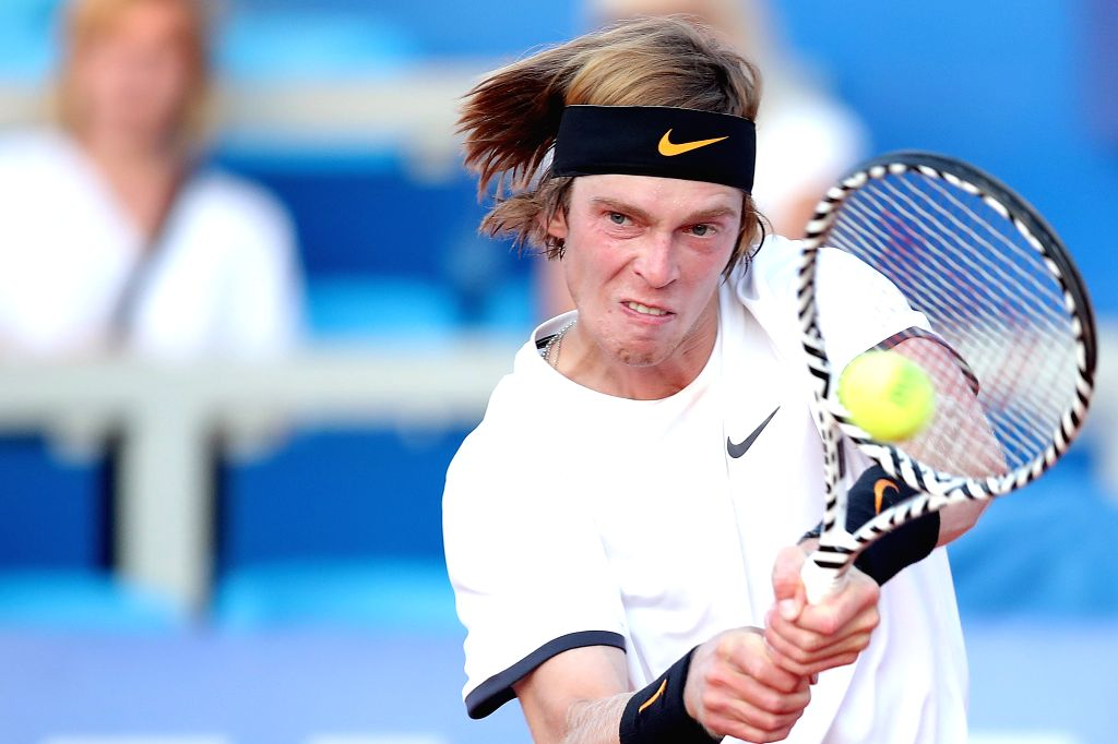 UMAG, July 17, 2019 - Andrey Rublev of Russia reacts during the first round match against Robin Haase of the Netherlands during the first round match at 2019 ATP Croatia Open in Umag, Croatia, on ...