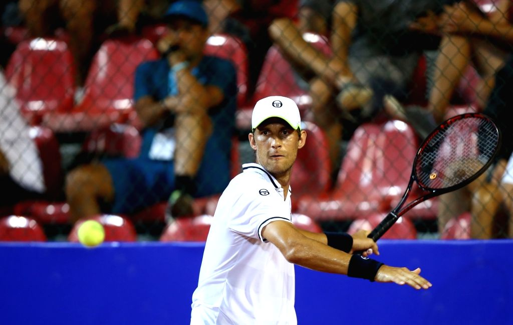 UMAG, July 18, 2018 - Martin Klizan of Slovakia hits a return against Nicolas Jarry  of Chile during the first round of 2018 ATP Plava laguna Croatia Open Umag tennis tournamet in Umag, Croatia, on ...
