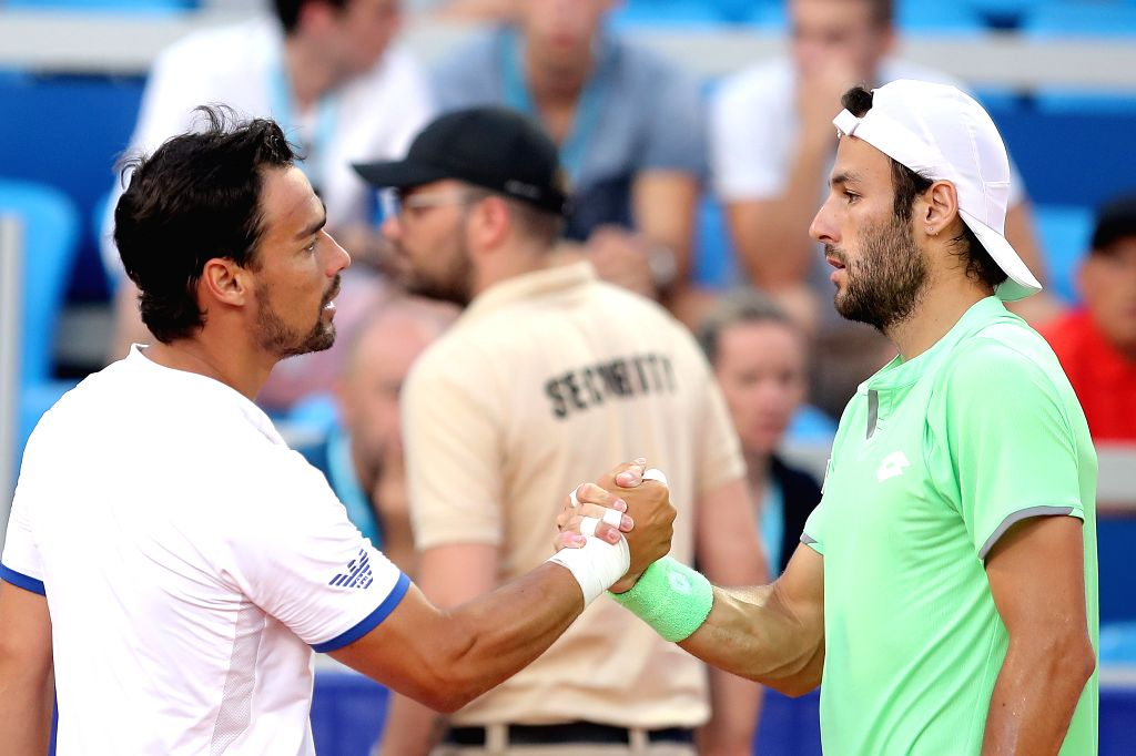 UMAG, July 18, 2019 - Fabio Fognini (L) of Italy shakes hands with Stefano Travaglia of Italy during the eighth finals at 2019 ATP Croatia Open in Umag, Croatia, on July 17, 2019. Travaglia won the ...