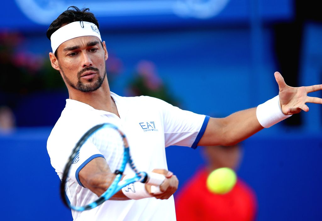 UMAG, July 18, 2019 - Fabio Fognini of Italy returns the shot to Stefano Travaglia of Italy during the eighth finals at 2019 ATP Croatia Open in Umag, Croatia, on July 17, 2019.