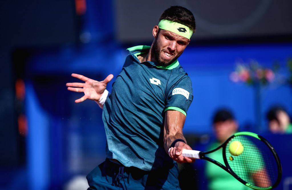 UMAG, July 19, 2018 - Jiri Vesely of the Czech Republic hits a return against Marco Cecchinato of Italy during the second round of 2018 ATP Plava laguna Croatia Open Umag tennis tournamet in Umag, ...