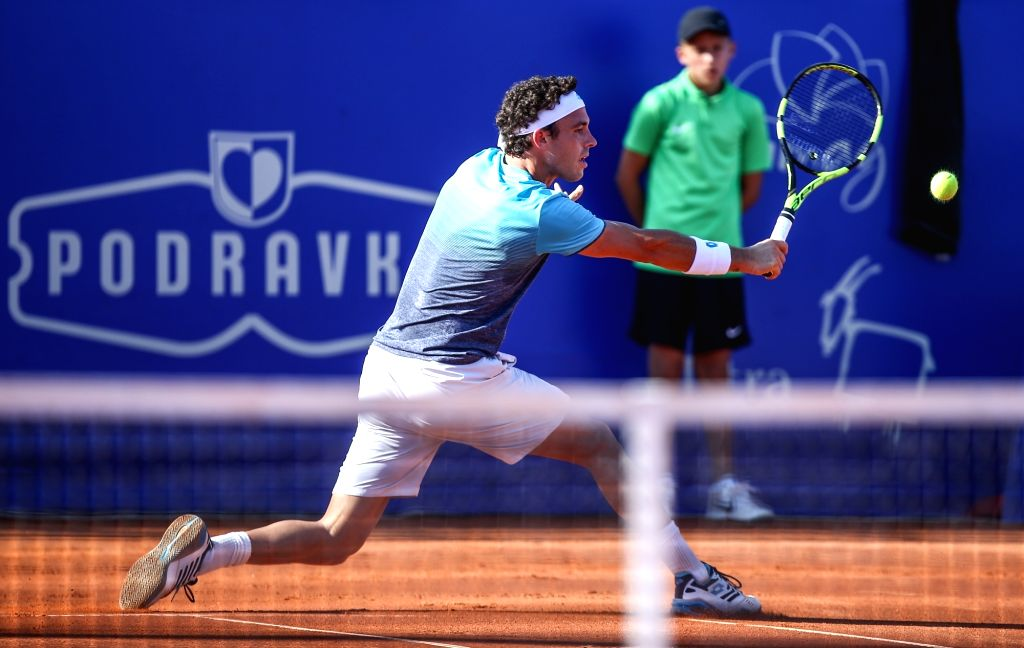 UMAG, July 19, 2018 - Marco Cecchinato of Italy hits a return against Jiri Vesely of the Czech Republic during the second round of 2018 ATP Plava laguna Croatia Open Umag tennis tournamet in Umag, ...
