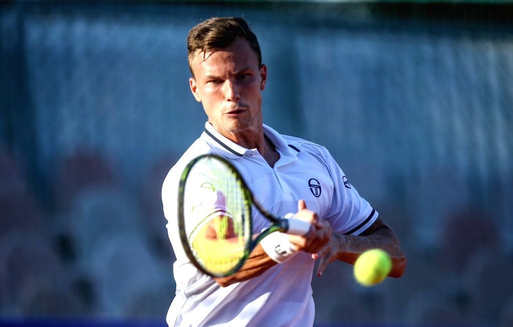 UMAG, July 20, 2018 - Marton Fucsovics of Hungary hits a return to Marco Trungelliti of Argentina during the second round of 2018 ATP Croatia Open in Umag, Croatia, on July 19, 2018. Marton Fucsovics ...